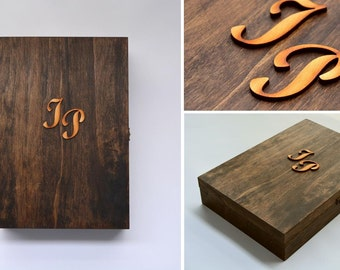 Luxury wooden packaging for shirt with handpainted monogram