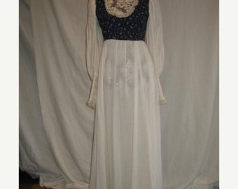 On Sale Vintage 1970s Gunne Sax Style Empire Waist Long Maxi Dress in Blue Calico with Cream Gauze Skirt and Sleeeves