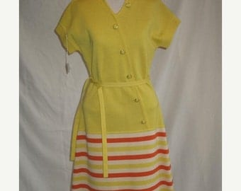 On Sale Vintage Late 1960's Wool Tricot Knit Day Dress in Yellow White and Tangerine Orange