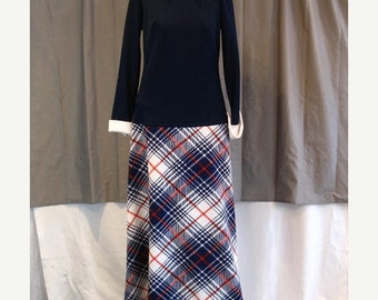 On Sale Vintage 1970's Maxi Dress Blue and White with Red White and Blue Plaid Skirt