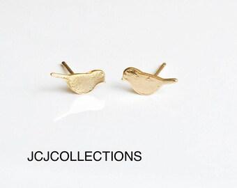 Tiny Bird Stud Gold Earrings