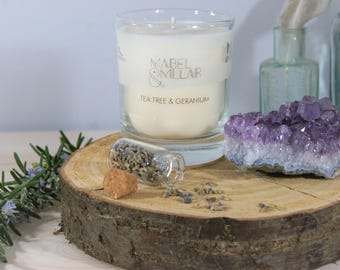 Scented Candle Gift Set, Relaxing Gift, Natural Candle, Amethyst, Crystals, Lavender.