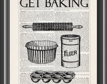 Get baking kitchen utensil flour rolling pin upcycled vintage art dictionary print wall art kitchen decor