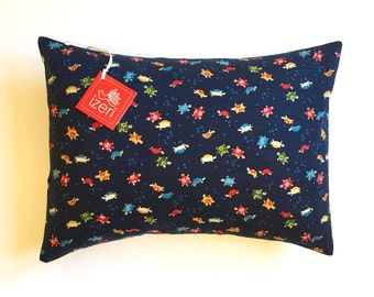 "Children Pillow | Nursery Pillow | Turtles Pillow | Indigo Pillow | Sea Water | 12"" x 16"" Pillow Cover and Insert | Animal Print Pillow"
