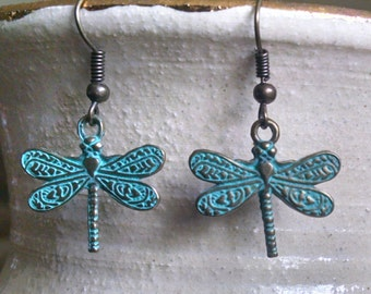 Patina Dagonfly dangle earrings