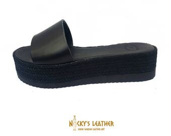 PLATFORM ESPADRILLES - Black Espadrilles from Full Grain Leather Handmade