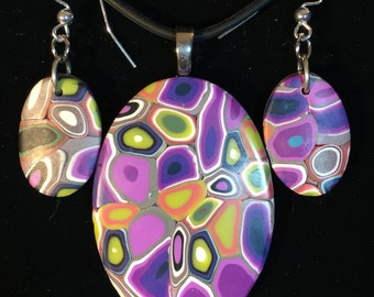 Ovals in purples and greens! Polymer clay pendant and earrings