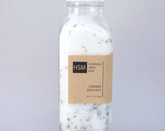 16 oz Detox Bath Salts- Lavender Bath Soak- Relaxing Bath Salts with Epsom and Dead Sea Salts- Organic Lavender Buds-  Bath tea