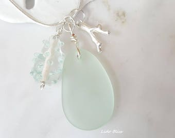 Sea Glass Necklace, 22-Inch Chain