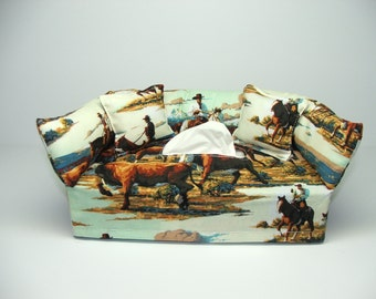Cowboys and Cattle fabric tissue box cover.