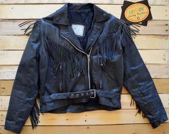 Women's 80s Black Leather Motorcycle Jacket est. 12 Large Biker Fringe Belted Fureal Leathers Ltd.