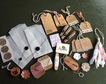 Gift Wrap Embellishment Kit, handmade paper flowers, tags, tassel, stamped stickers, clothespins, twine, wood tags, coffee stain tags