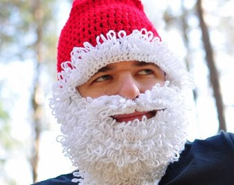 Christmas Santa Claus Costume, fluffy crochet set of male hat and beard, xmas costume, winter accessory for man, gift for teen, cred, white