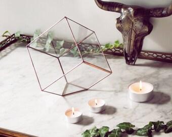 Terrarium Cube tronqué géométrique en verre - Fait main - Vitrail tiffany - Argent - Cuivre - Cactus - Mini jardin - Jardin intérieur.