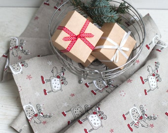 Christmas tea towels set of 2 - Linen towels with Raindeers - Tea towels - Christmas gift - Hostess gift