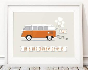 Unique Wedding Gift For Couple, Camper Van Wedding Present, Wedding Gift Ideas, Gifts For Bride, Campervan Personalised Print (unframed)