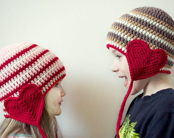 Valentine Day Crochet Hat - Kids Valentine Day Hat - Valentine Day Photography Prop - Valentine Day Prop - Made to Order
