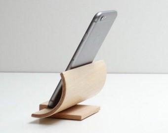 Support téléphone en bois Hêtre, support iphone cintré en bois, support i phone bois multipli cintré