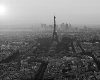 PS0211 Poster Print FAMOUS LANDMARK Aerial view of Paris sunset Landscape FRANCE