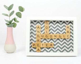 Custom Scrabble Inspired Wall Art Frame Small, Scrabble Inspired Word Art, Fabric Art, Personalised Scrabble Gift, FREE UK SHIPPING