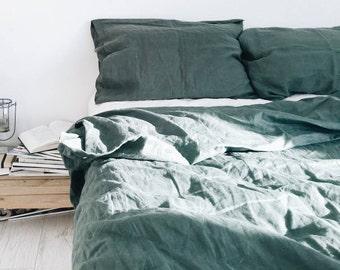 Emerald. Linen bedding set. Linen duvet cover and 2 pillow cases. Dark green, Twin, Euro/US Full, US Queen, US King