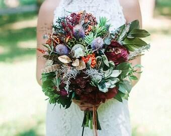 Boho Blumenstrauß indische Hochzeit Braut blumeblumenstrauß Brautstrauß Brautstrauss Woodland Blumenstrauß rustikale Lieblingstorte Hochzeit