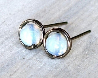 Moonstone stud earrings, niobium earrings, natural stone earrings, gemstone earrings, June birthstone earrings, moonstone earring, studs