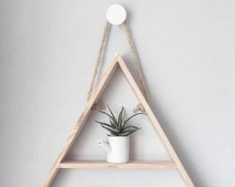 large wooden triangle shelf - pine triangle shelf - hand made decorative triangle shelf - geometric shelf design.