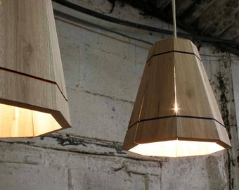 Pendant Lamp Shade Handmade in Recycled Pallet Wood, Small Hanging Ceiling Light
