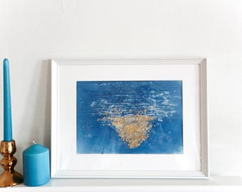 Cyanotype Hand Printed Photograph with 24c Gold Leaf / Abstract Fine Art Print / Sea / Ocean / Loch