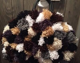 Handmade Crochet (Multi-Colored) Pom-Pom Handbag