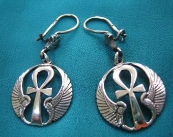 Oxidized Egyptian Sterling Silver Earrings, Ankh Earrings, Egyptian Earrings