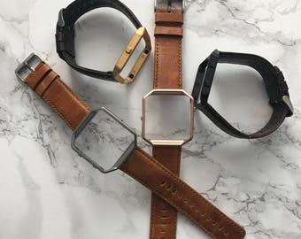 Genuine Leather Rustic Strap / Band with Frame Included for Fitbit Blaze