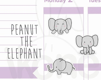 Cute Elephant Planner Stickers, baby elephant Stickers for planner - kawaii elephant sticker sheet - A005