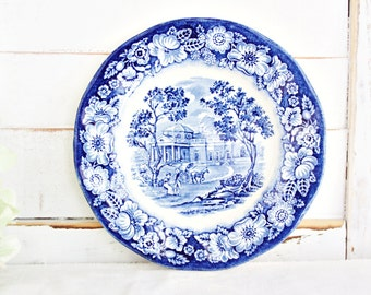 """Vintage Liberty Blue Bread Plate 6"""" 