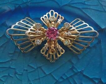 Vintage Gold & Pink Brooch