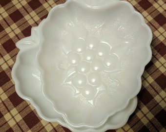 Pair of Milk Glass Grape Patterned Dishes