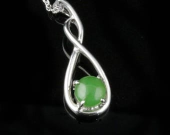 Canadian Nephrite Jade Twist Pendant - Sterling Silver