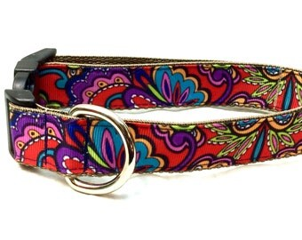 Red Paisley Dog Collar, Leash or Step In Harness with Personalized Options