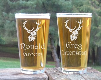 Deer Groomsman Pilsner Glass Groomsman Gift Personalized Pilsner Glass Engraved Beer Glass Custom Groomsman Gift Wedding Party Glasses 16 oz
