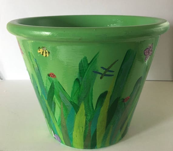 Green Garden and Bugs Hand Painted Large Plant Pot