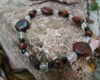 Red Jasper and Quartz Stone Bracelet