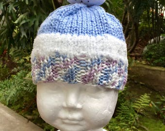 Blue and White Baby Hat with Removable Snowman Topper (6-9 Months)
