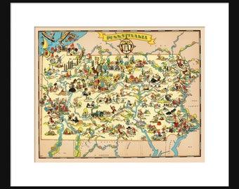 Pennsylvania Map - Map of Pennsylvania - Vintage Map - Print - Poster - Wall Art - Home Decor