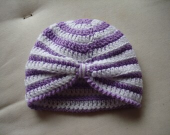 Baby Turban Hat crocheted in Purple and White 8 ply Acrylic Yarn