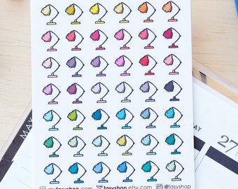 42 Study Lamps Doodles | Colourful Hand Drawn Sticker Planner