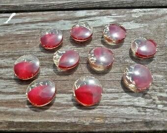 Ooh là là! Frenchbuttons, pretty buttons, multi-coloured buttons, gold buttons, burgundy buttons, 10 set buttons,