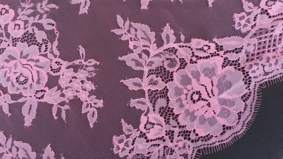 Pink Lace Fabric,pink Fabric,Pink Alencon Fabric,Pink Chantilly Lace, Pink Bridal Lace,Floral Lace Fabric,Pink Floral Lace,Embroidery lace