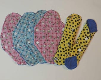 NEW SHAPE, 6pk moderate cloth pads, cotton top, flannel core, corduroy back, choose print, well made, high quality, reusable menstrual pads