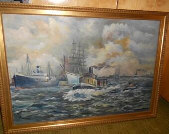 "Oil painting, ""Port of Hamburg""."